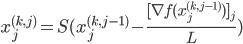 x_j^{(k,j)}=S(x_j^{(k,j-1)}-\frac{[\nabla f(x_j^{(k,j-1)})]_j }{L})