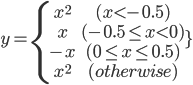 y = \left{\begin{array}x^2 &(x < -0.5) \\   x & (-0.5 \leq x < 0) \\   -x & (0 \leq x \leq 0.5) \\   x^2 & (otherwise) \end{array}\right.