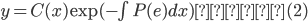 y=C(x)\exp(-\int{P(e)dx})  (2)
