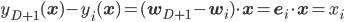y_{D+1}(\mathbf{x}) - y_i(\mathbf{x}) = (\mathbf{w}_{D+1}-\mathbf{w}_i) \cdot \mathbf{x}= \mathbf{e}_i \cdot \mathbf{x} = x_i