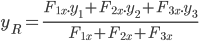 y_{R}=\frac{F_{1x}.y_{1}+F_{2x}.y_{2}+F_{3x}.y_{3}}{F_{1x}+F_{2x}+F_{3x}}