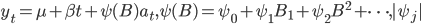 y_{t}=\mu+\beta t +\psi (B) a_{t},\psi (B)=\psi_{0}+\psi_{1} B_{1}+\psi_{2} B^2 +\cdots,|\psi_{j}|
