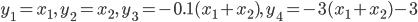 y_1=x_1,\,\,y_2=x_2,\,\,y_3=-0.1(x_1+x_2),\,\,y_4=-3(x_1+x_2)-3