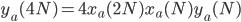 y_a(4N)=4x_a(2N)x_a(N)y_a(N)