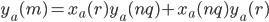 y_a(m) = x_a(r)y_a(nq)+x_a(nq)y_a(r)