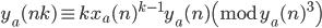 y_a(nk) \equiv kx_a(n)^{k-1}y_a(n) \pmod{y_a(n)^3}