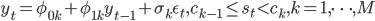 y_t = \phi_{0k} + \phi_{1k} y_{t-1} + \sigma_k \eps_t, c_{k-1} \leq s_t < c_k, k = 1,\cdots,M