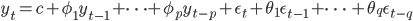 y_t=c+\phi_1 y_{t-1}+ \cdots +\phi_p y_{t-p}+\eps_t+\theta_1 \eps_{t-1}+ \cdots\ +\theta_q \eps_{t-q}