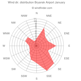 Wind direction distribution Bryansk Airport January
