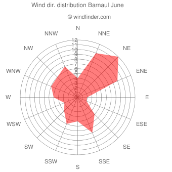 Wind direction distribution Barnaul June