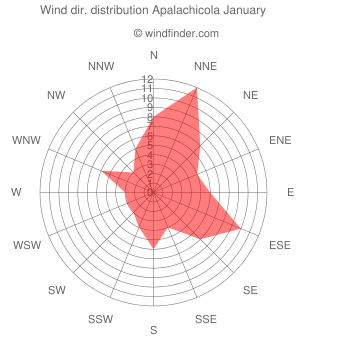 Wind direction distribution Apalachicola January