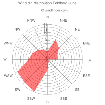 Wind direction distribution Feldberg June