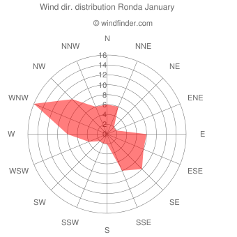 Wind direction distribution Ronda January