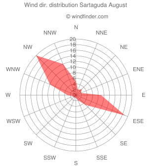 Wind direction distribution Sartaguda August