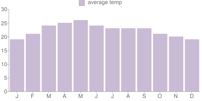 Monthly Temperature Graph for Mexico