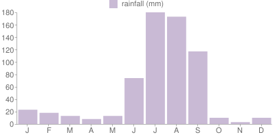 Monthly Rainfall Graph for India