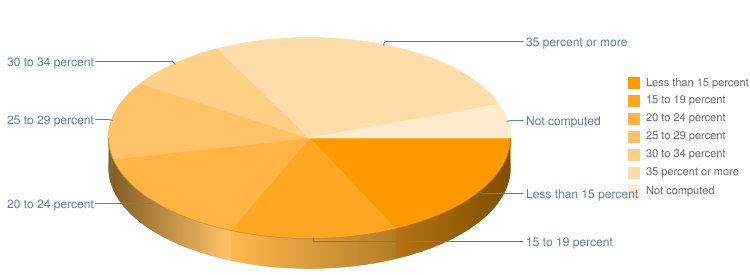 Rent Payment as Percentage of Income Pie Chart