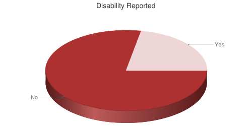 Pie chart showing reported disability