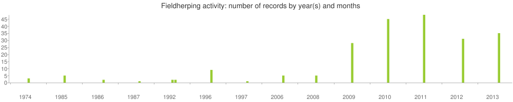 Fieldherping activity: number of records by year(s) and months (included only records with date format DD.MM.YYYY)