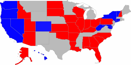 2010 US Senate Race Electoral Map