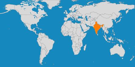 Mapa de los países a los que organiza viajes Sangha Services