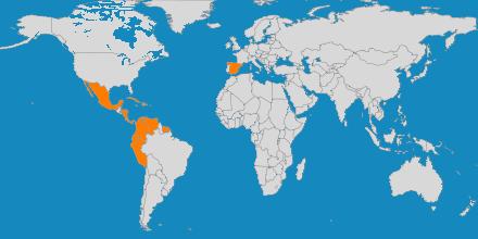 Mapa de los países a los que organiza viajes Liviaggi