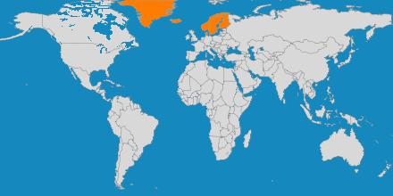 Mapa de los países a los que organiza viajes Arctic Yeti