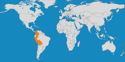 Mapa de los países a los que organiza viajes Rumbo a Perú Travel