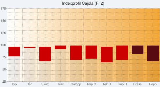 Chart?chs=550x300&cht=bvs&chco=00000010,cc0000,00cc00,00000010,580c12,0b6711&chf=bg,s,f0f4f9|c,lg,0,ffffff,0,f3a635,1&chxt=y,x&chxl=1:|typ|ben|skritt|trav|galopp|tmp+g|tek+h|tmp+h|dress|hopp&chxr=0,25,175&chg=5.0,5.0,2.0,2.0&chd=s:vcrbstqsaa,ibmdmlnmaa,aaaaaaaaaa,aaaaaaaaxr,aaaaaaaahn,aaaaaaaaaa&chtt=indexprofil+cajola+(f