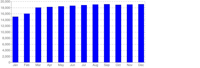 Unique visitors - statistics by month