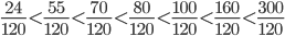 </p><br /> <p>\frac{24}{120}\lt \frac{55}{120}\lt \frac{70}{120}\lt \frac{80}{120}\lt \frac{100}{120}\lt \frac{160}{120}\lt \frac{300}{120}