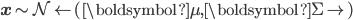 \mathbf x \sim \mathcal N \left(\boldsymbol \mu, \boldsymbol \Sigma \right)