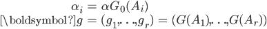 \begin{eqnarray}         \alpha_i &=& \alpha G_0(A_i)\\         \boldsymbol{g} &=& (g_1, \ldots , g_r) &=& (G(A_1), \ldots , G(A_r))     \end{eqnarray}