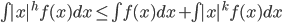 \begin{eqnarray}         \int|x|^{h}f(x)dx \leq \int{f(x)}dx + \int|x|^{k}f(x)dx     \end{eqnarray}