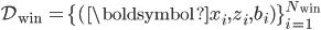 \mathcal{D}_{\rm win } = \{(\boldsymbol {x} _ i, z _ i, b _ i)\}_{i=1}^{N_{\rm win}}