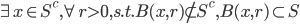 \begin{eqnarray} \exists x \in S^c,  \forall r >0, s.t. B(x ,r) \not\subset S^c, B(x ,r) \subset S  \end{eqnarray}