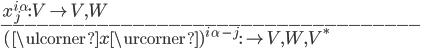 \:  x^{i\, \alpha}_{j} : V \to V, W \\ \mbox{-----------------------------------}\\ \: (\ulcorner x \urcorner)^{i\, \alpha\, -j}  : {}\to V, W, V^*