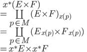 \:\:\:\: x^\ast (E\times F) \\  =  \coprod_{p \in M}(E\times F)_{x(p)} \\  =  \coprod_{p \in M}( E_{x(p)} \times F_{x(p)} ) \\  = x^\ast E \times x^\ast F