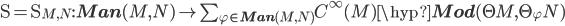 \D = \D_{M, N} : {\bf Man}(M, N) \to \sum_{\varphi\in {\bf Man}(M, N)} C^\infty(M)\hyp{\bf Mod}(\T M, \T_\varphi N)