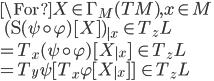 \For X \in \Gamma_M(TM), x\in M \\ \quad (\D (\psi \circ \varphi)[X])_{|x}  \:\in T_z L \\ = T_x (\psi \circ \varphi)[X_{|x} ]  \:\in T_z L \\ = T_y \psi [ T_x \varphi [X_{|x} ]  ]  \:\in T_z L