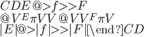 \begin{CD}  E     @>f>>     F \\  @V{{}^E\pi}VV   @VV{{}^F\pi}V \\  |E|   @>{|f|}>> |F| \end{CD}