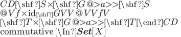 \begin{CD} \shf{S}\times \shf{G} @>{a}>>     \shf{S} \\ @V{f\times \mathrm{id}_\shf{G}}VV @VV{f}V \\ \shf{T}\times \shf{G} @>{a}>>     \shf{T}  \end{CD}\\ \mbox{commutative }\In {\bf Set}[X]