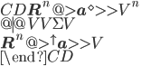 \begin{CD} {\bf R}^n @>{{\bf a}^{\diamond} }>>  V^n \ @|                                  @VV{\Sigma}V \ {\bf R}^n @>{^\uparrow{\bf a} }>>  V \ \end{CD}