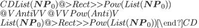 \begin{CD} List({\bf NP}_0) @>{Rect}>>  Pow(List({\bf NP}_0)) \\ @V{Anti}VV                   @VV{Pow(Anti)}V \\ List({\bf NP}_0) @>{Rect}>>  Pow(List({\bf NP}_0)) \end{CD}