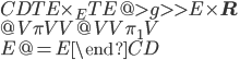 \begin{CD} TE\times_E TE @>{g}>> E\times {\bf R} \\ @V{\pi}VV             @VV{\pi_1}V \\ E @= E \end{CD}