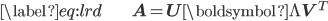 \begin{align} \label{eq:lrd} & \mathbf{A} = \mathbf{U} \boldsymbol{\Lambda} \mathbf{V}^{T} \end{align}