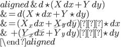 \begin{aligned} &d\star(X\,dx+Y\,dy) \\ &=d(X\star dx+Y\star dy) \\ &=(X_x\,dx+\cancel{X_y\,dy})∧\star dx \\ &\ +(\cancel{Y_x\,dx}+Y_y\,dy)∧\star dy \\ \end{aligned}