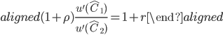 \begin{aligned} (1+\rho)\displaystyle{\frac{u^{\prime} (\hat{C}_1)}{u^{\prime} (\hat{C}_2)}}=1+r \end{aligned}