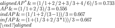 \begin{aligned} AP^* &= (1/1+2/2+3/3+4/6)/5 = 0.733 \\ AP &= (1/1+2/3)/3 = 0.556 \\ indAP &= (1/1+2/(3-1))/3 = 0.667 \\ infAP &= (1+(1/3+2/3*1))/3 = 0.667 \\ \end{aligned}