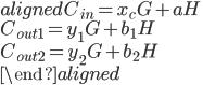 \begin{aligned} C _ {in} = x _ {c} G + aH \\ C _ {out1} = y _ {1} G + b _ 1H \\ C _ {out2} = y _ {2} G + b _ 2H \\ \end{aligned}